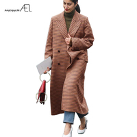 AEL Brown Plaid Thickening Keep Warm Wool Super Long Coats 2017 Winter Women Clothing