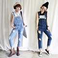 women Ripped Hole Denim jumpsuit 2016 summer Loose Jeans bodysuit female rompers mujer bodycon feminino Denim Pencil Overalls 39