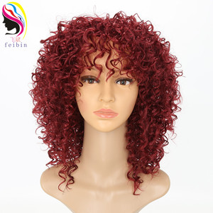 Image 2 - Feibin Short Afro Wigs for Black Women Kinky Curly Ombre Blonde Nature Black Synthetic Wigs African 14inches