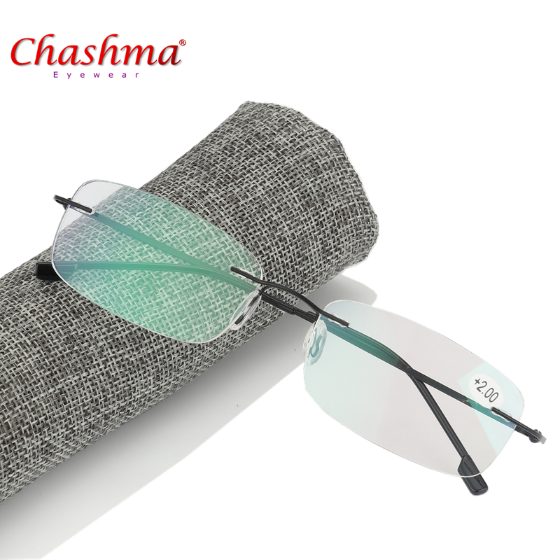 2017 High Quality Unisex Ultra-ringan Titanium Alloy Rimless Reading Glasses Lelaki Flexible Frameless Glasses Presbyopic with Case