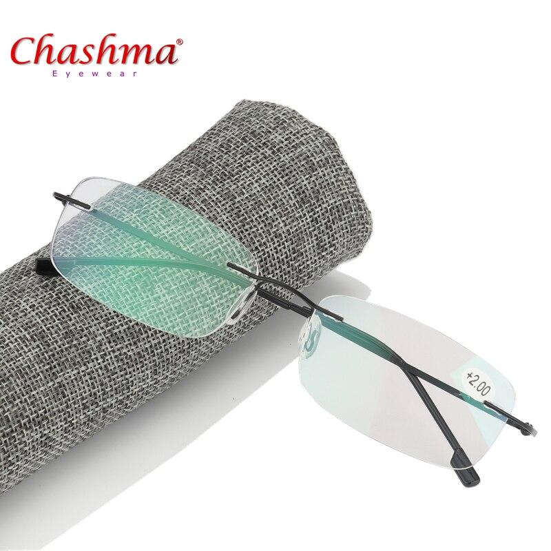 2017 Hohe Qualität Unisex Ultra-licht Titan Legierung Randlose Lesebrille Männer Flexible Rahmenlose Presbyopie Brille Mit Fall Clear-Cut-Textur