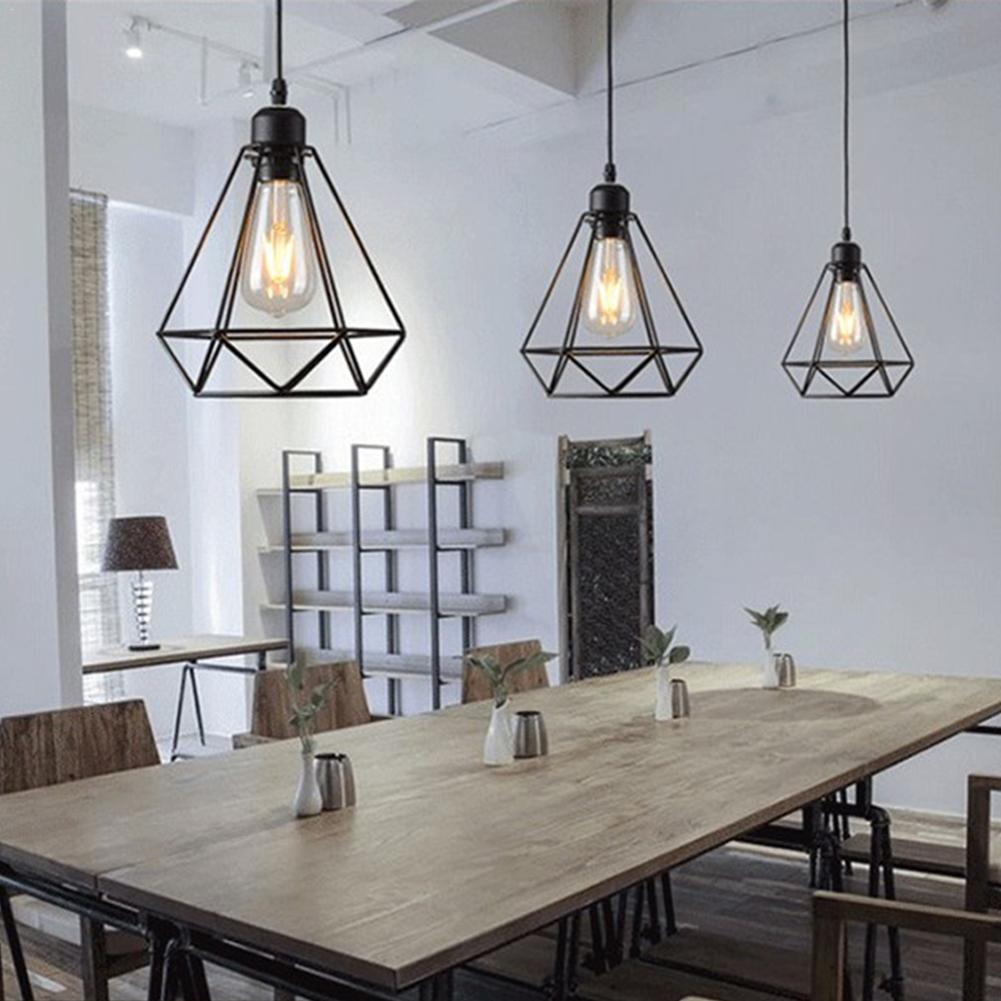 E27 Base Retro Industrial Style Diamond Ceiling Lamp For Coffee Shop Clothing Shop Restaurant Modern Chandelier Lighting Tool
