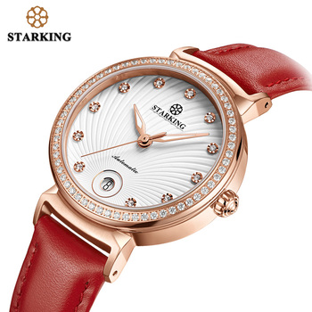STARKING Women Watches Top Brand Luxury Stainless Steel Leather Casual Waterproof Wristwatch Gift for Wife Mechanical Watch Lady