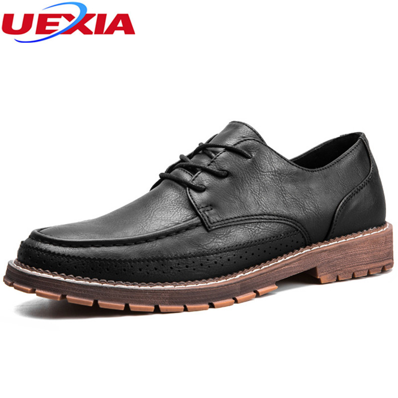 UEXIA New Fashion Leather Men Dress Shoes Oxfords Lace-Up Designer Luxury Formal Wedding ...