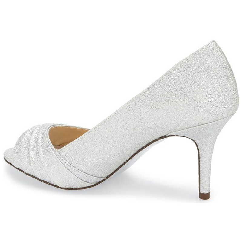 Summer Silver Glitter Satin Pumps Pleated Woman Sexy High Heel Peep Toe  Antiskid Wedding Shoes Woman Sapatos Mulher NancyJayjii -in Women s Pumps  from Shoes ... a84f95a2c2e9