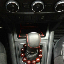цена на Free Shipping High Quality Cowhide Top Layer Leather Automatic Gear Shift Collars Gear Cover For 2014-2016 Skoda Yeti
