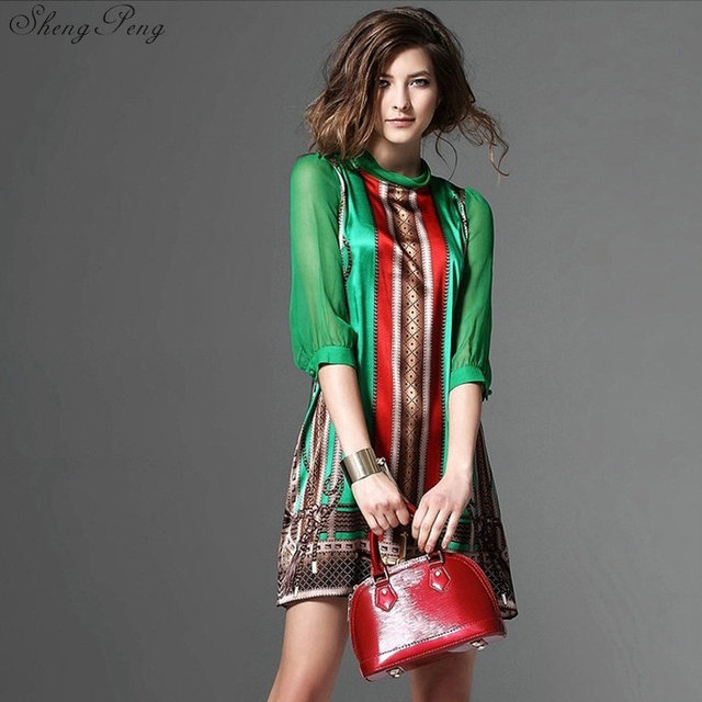 Hippie bohemian style boho hippie dress mexican embroidered dress boho chic dresses Q531 4