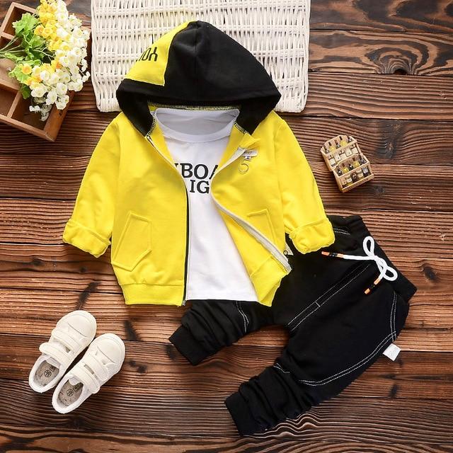 06b354745 Baby Boy Clothing Sets Kids 3PCS Coat+T-shirt+Pants Children Clothes For  Spring Autumn Bebe boy Outfits Bib Tracksuit