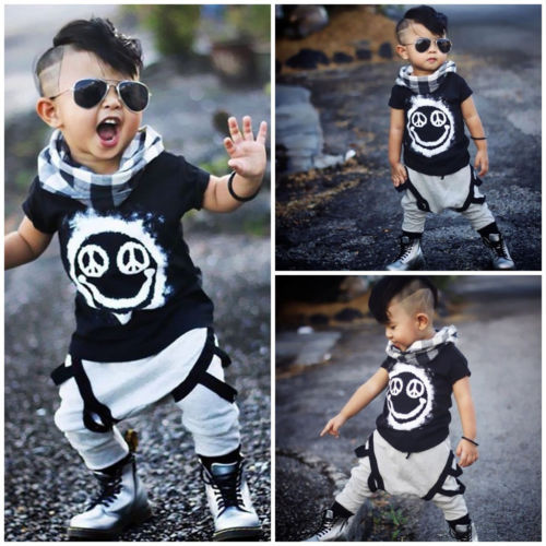 f0d911f3f15e 2017 Fashion Kids Boys Tops T-shirt Pants Harem Casual Kids Toddler Stylish  Outfits Clothes 2PCS Set Short Sleeve