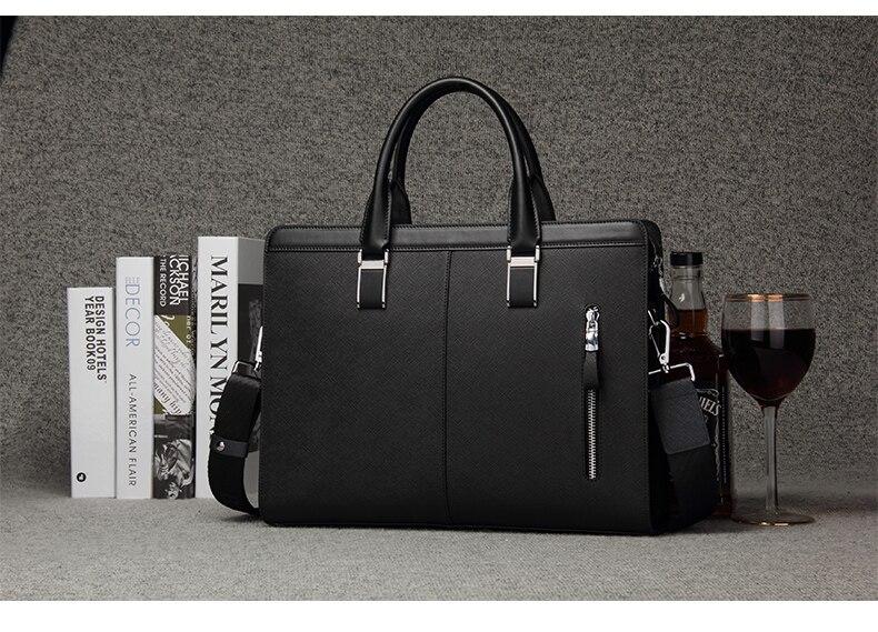HTB1qfO2ubSYBuNjSspfq6AZCpXaB BISON DENIM Genuine Leather Handbag Men Business Messenger Bag 14'' Laptop Tablet leather Shoulder Bag Crossbody Male bags N2317