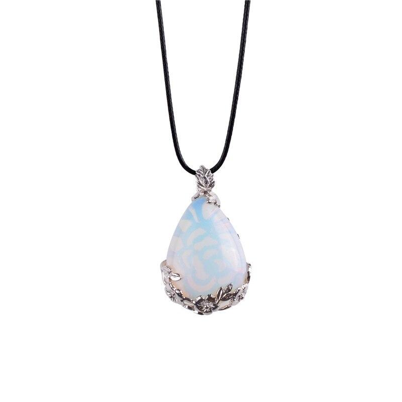Vintage Jewelry Teardrop Opal Howlite Malachite Pendant Bead Charm Quartz Stone Free Leather Chains Necklace