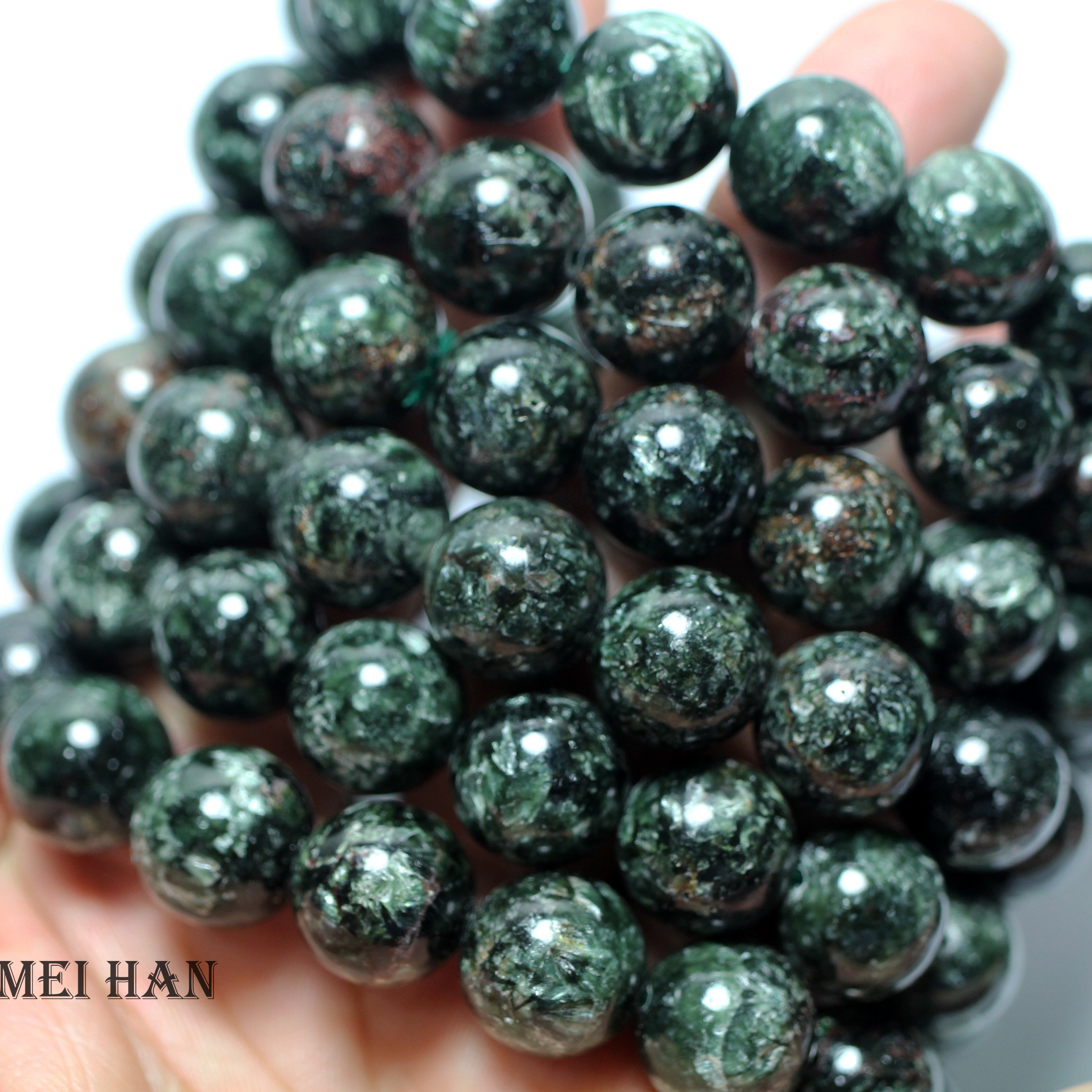 Natural cheap russian seraphinite 13 13 5mm 16 beads set 45g smooth round stone wholesale beads