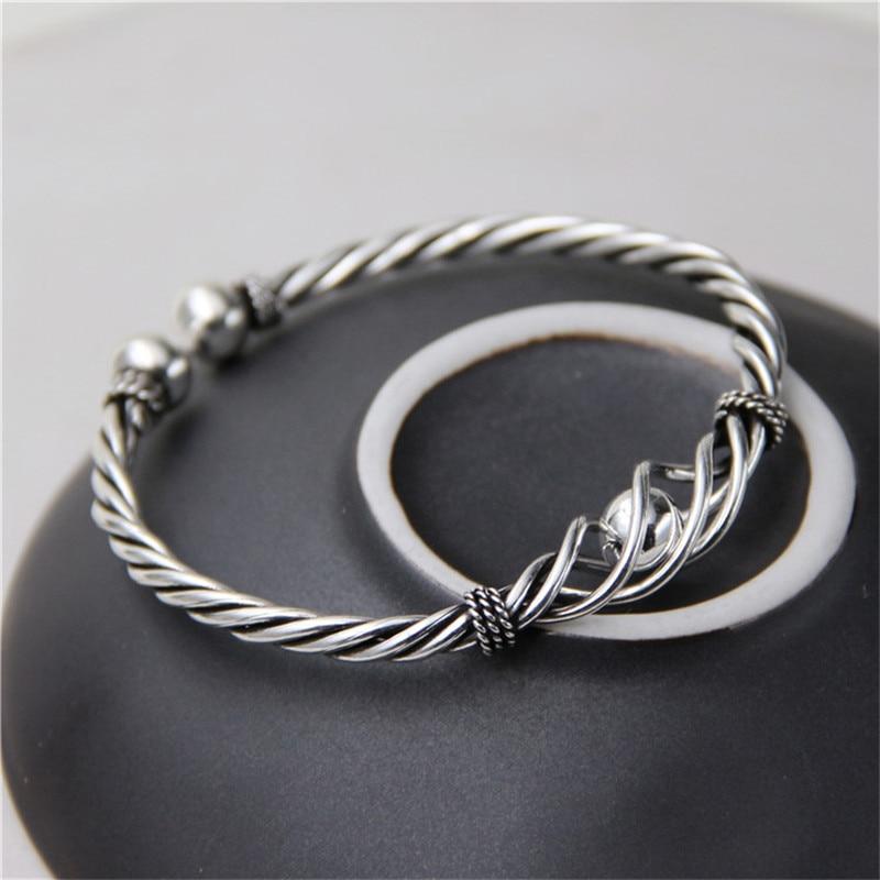 JINSE Real Pure 100% 925 Sterling Silver Bangles Women Bracelets Twisted Rope Bangle Vintage Wedding Adjustable Bangle Feminino