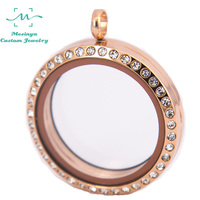 Stainless Steel IP Rose Gold 30mm Round Glass Locket For Floating Charms Love Note Keepsake Xmas