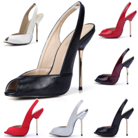 CHMILE CHAU Sexy Women Dress Party Pumps Peep Toe Stiletto Iron High Heel Slingback Ladies Shoe Escarpins Talons Femmes 3845 g11