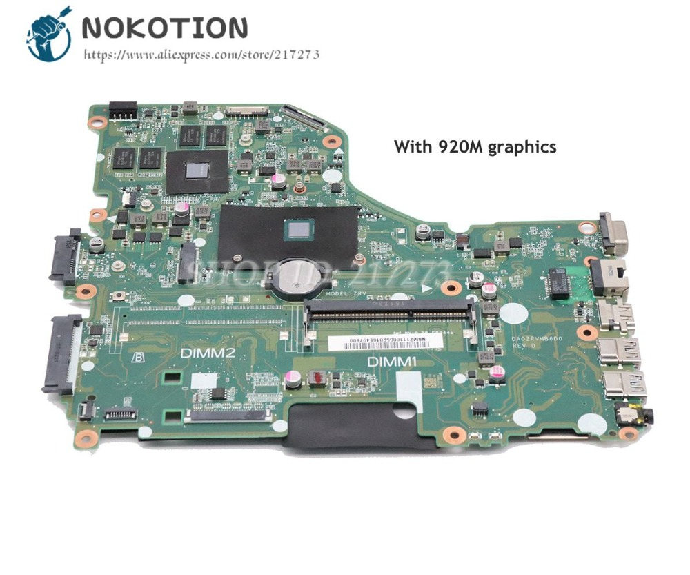 NOKOTION Laptop Motherboard For Acer asipre E5-532 E5-532G DA0ZRVMB6D0 NBMZ111005 NB.MZ111.005 SR29F N3150 CPU <font><b>920M</b></font> Graphics image