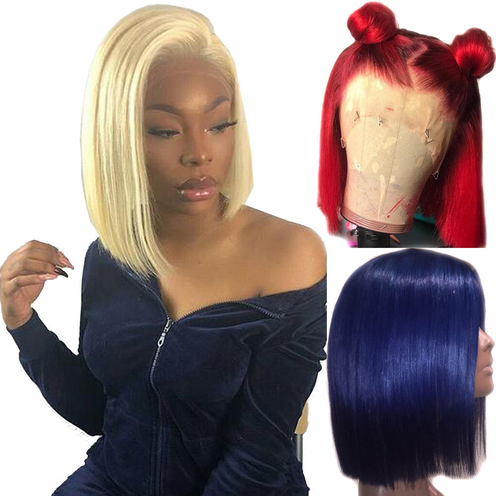 613 Blonde 13x6 Lace Front Wig Blue Colored Remy Red Human Hair Full Ends Transparent Frontal Closure Swiss Lace Short Bob Wigs