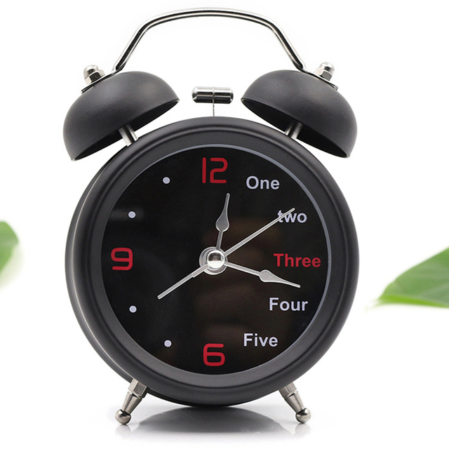 3 Inches Classical Double Bell Silent No Ticking Desk Table Alarm Clock  Bedroom Office Bedside Clock