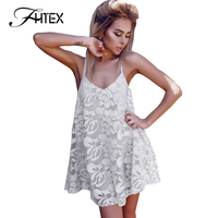 FHTEX Women Sexy Deep V Neck Backless Summer Lace Dress Ladies Back Cross Casual Loose Beach