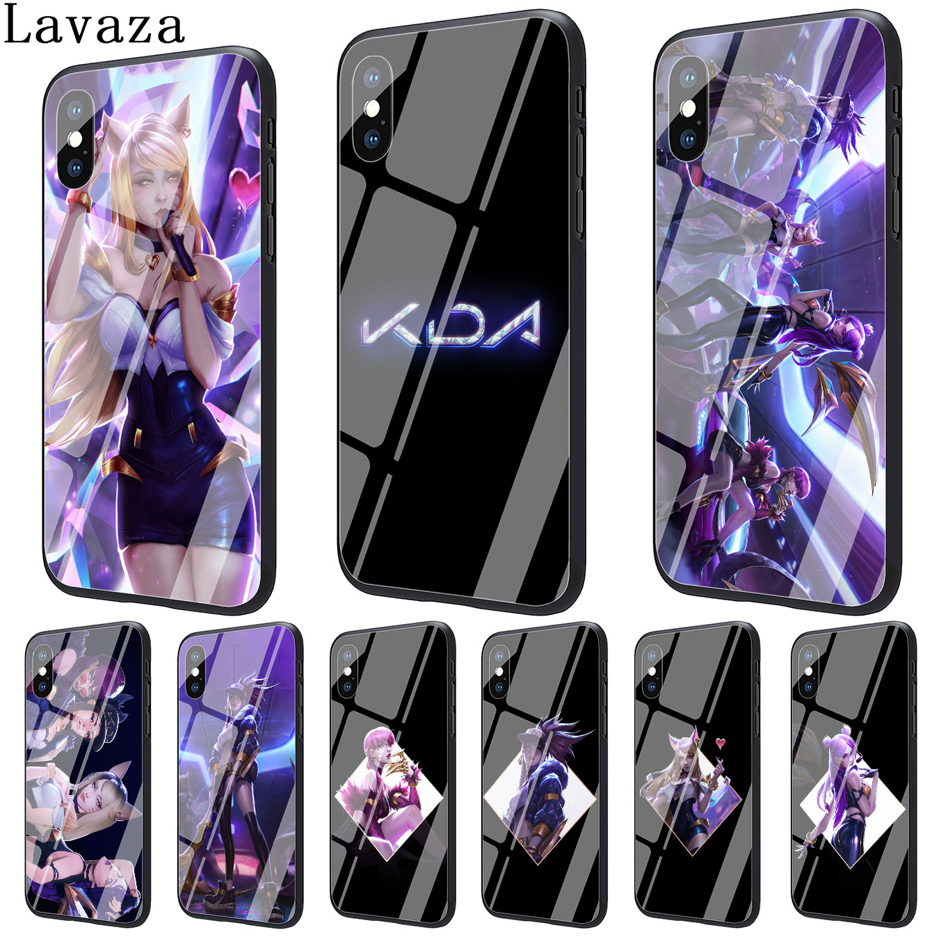 Lavaza lol kda kaisa Ahri akali Tempered Glass Phone Cover Case for Apple iPhone XR XS Max X 8 7 6 6S Plus 5 5S SE Cases