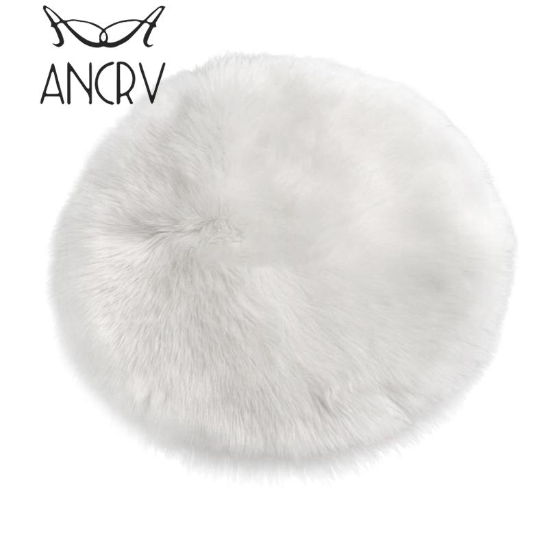 Round Sheepskin Chair Cover Seat Pad Soft Carpet Hairy Plain Skin Fur Plain Fluffy Area  ...