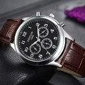 Marca de lujo Hombre Super Suave Top Casual Hombre Vestido de Reloj de Pulsera Banda de Cuero de Estilo de Negocios Impermeable Reloj Montre Homme