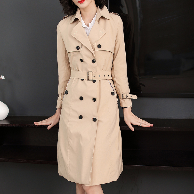 knee long khaki windbreaker autumn women's dress Double Breasted Waist Belt Solid Color Female   Trench   Coat