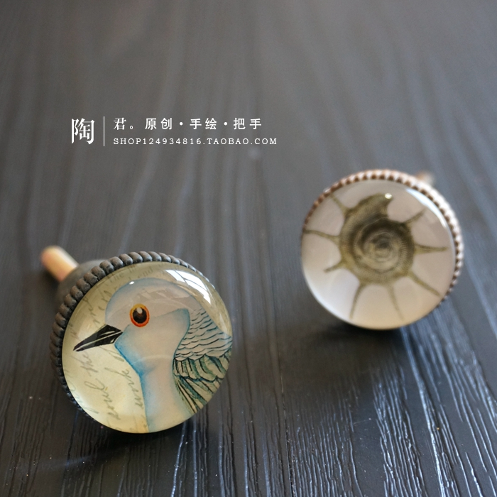 Cabinet Drawer Handle Bird American Retro Modern Simple Wardrobe Kitchen Handle and Knobs Single Hole Zinc Alloy and Glass