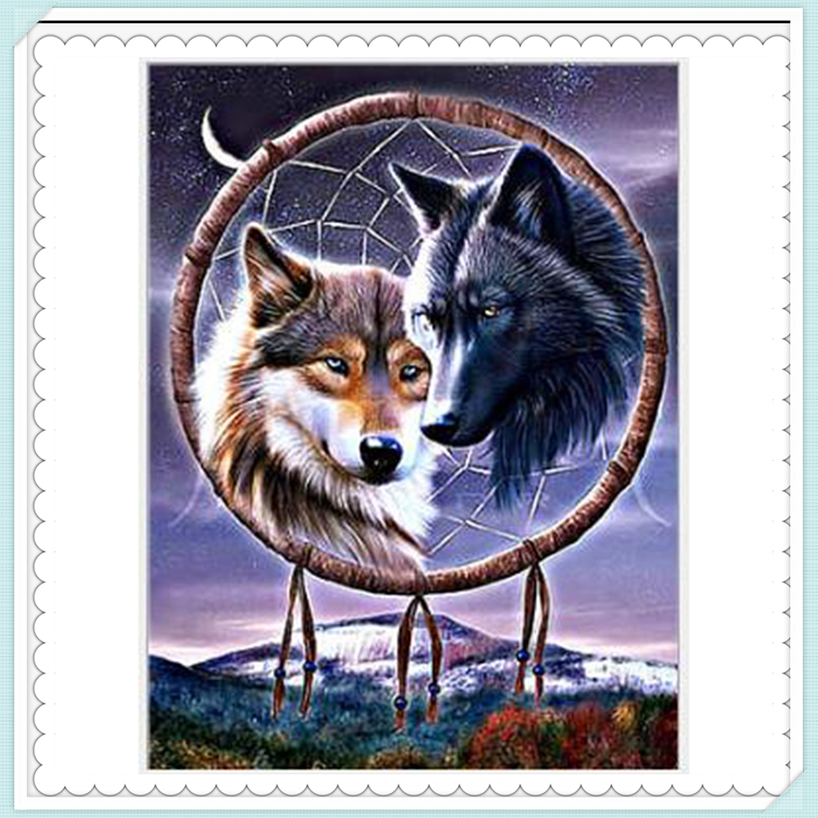 Wolf dream catcher,Pictures by numbers oil diy canvas ...