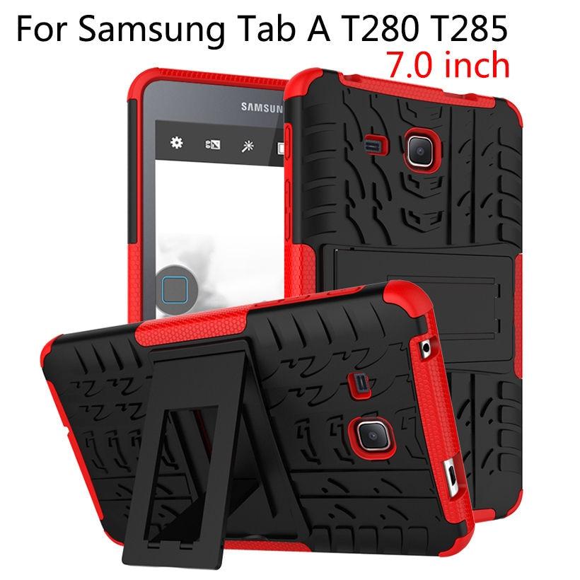 Fodral för Samsung Galaxy Tab A6 7,0 tums 2016 T280 T285 Skyddstablet TPU & PC Armour Bländar Hybrid Armor Kickstand Cases Funda