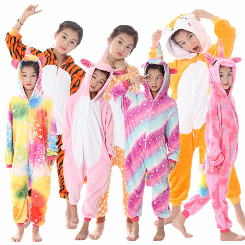 0e7391142 Unicorn Costume For Girls Pajamas Pink Fleece Onesie Boys Sleepwear  Jumpsuit Winter Warm Hoodie Anime Kigurumi