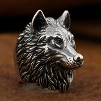LINSION 925 Sterling Silver Wolf Ring Handmade Huge Heavy Mens Biker Punk Ring TA90 US Size 10~15