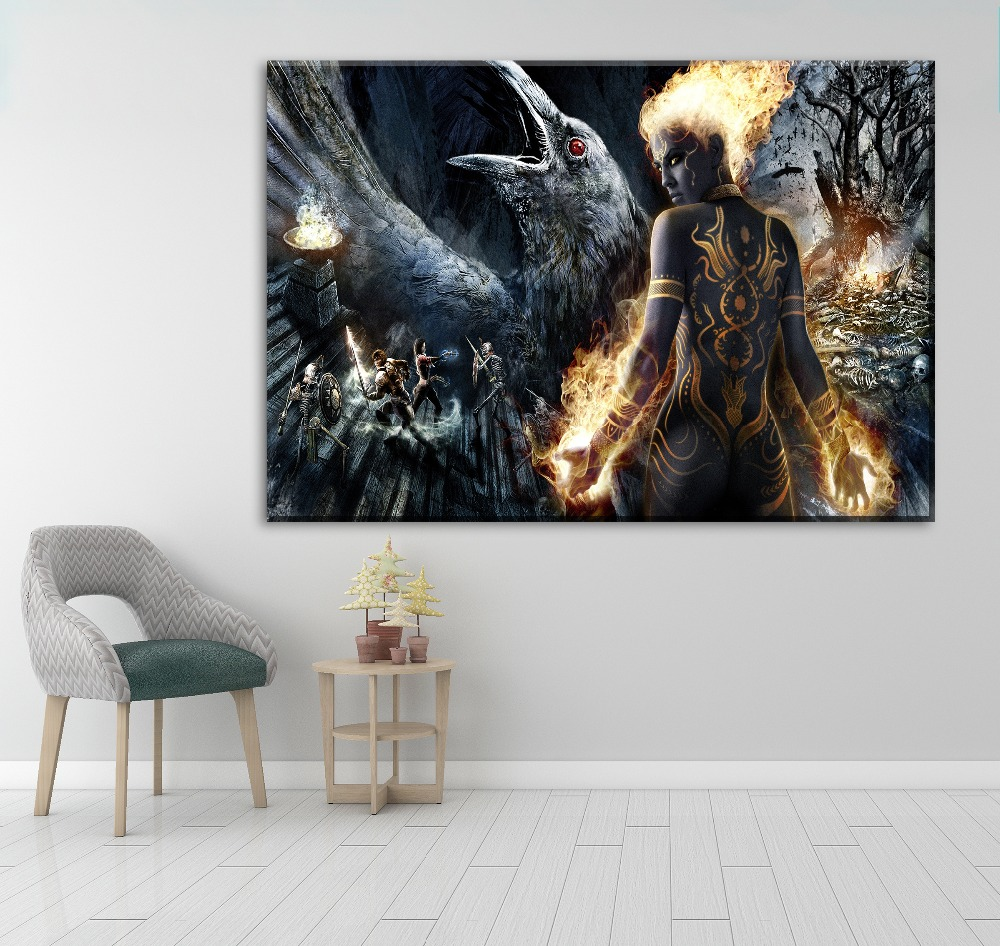 Framework Wall Art Painting HD Printed Modular Pictures 4 Panel Anjali Dungeon Siege 3 Canvas Game Poster Home Decoration in Painting Calligraphy from Home Garden