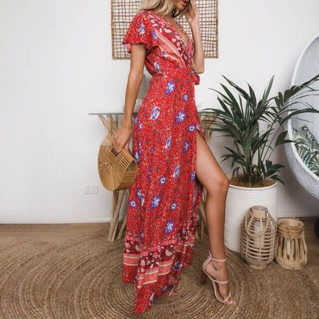 70ee6fca5626a Conmoto Maxi Floral Ruffles Sleeve Dress Bohemian Women Long Dress Wrap  Split Beach Summer 2019 Feminino Dress Vestidos