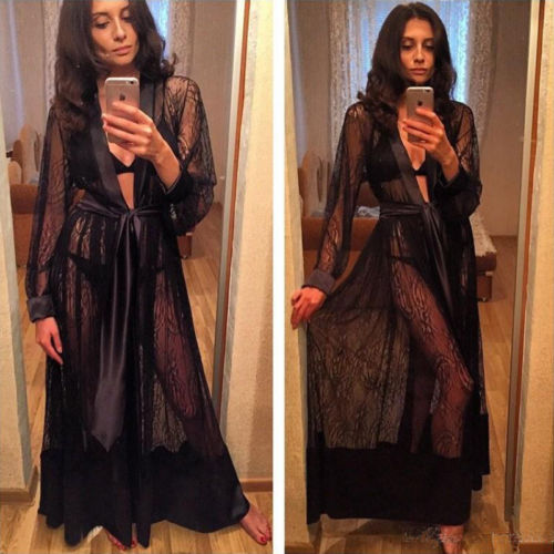 Women Sexy Long Silk Bath Robe Kimono Babydoll Maxi Dress Nightgown Lace Up Lingerie Nightdress in Robes from Underwear Sleepwears