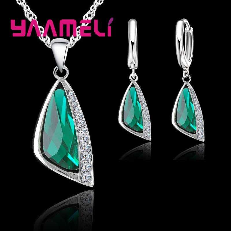 925 Sterling Silver Wanita Bridal Perhiasan Set Fashion Hijau Kubik Zirconia Liontin Kalung Anting-Anting Set untuk Pertunangan