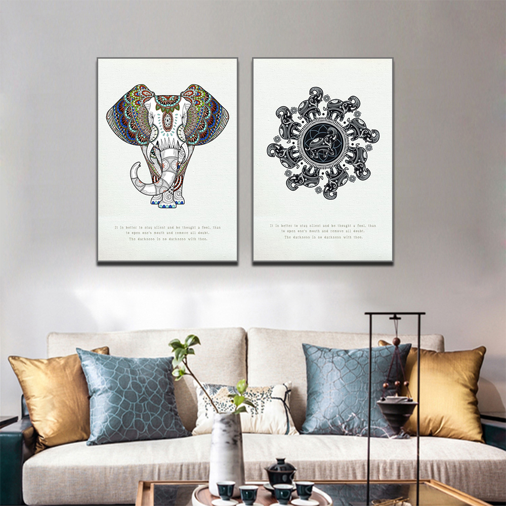 Unframed 2 HD Canvas Prints Elephant Art Deco Painting Living Room Mural Inkjet Poster Waterproof Ink Free Shipping