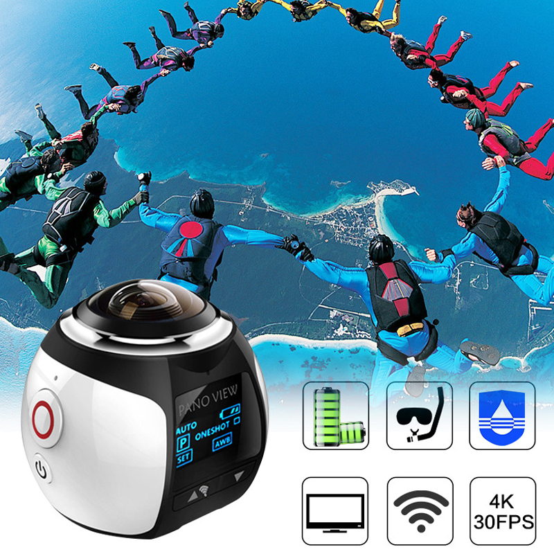Video Camera 2018 New 30m Underwater Waterproof 360 Degree Panoramic Video Camera Camcorder Ultra HD with Waterproof Accessories gizcam 30m underwater waterproof 360 degree panoramic video camera camcorder ultra hd with waterproof accessories
