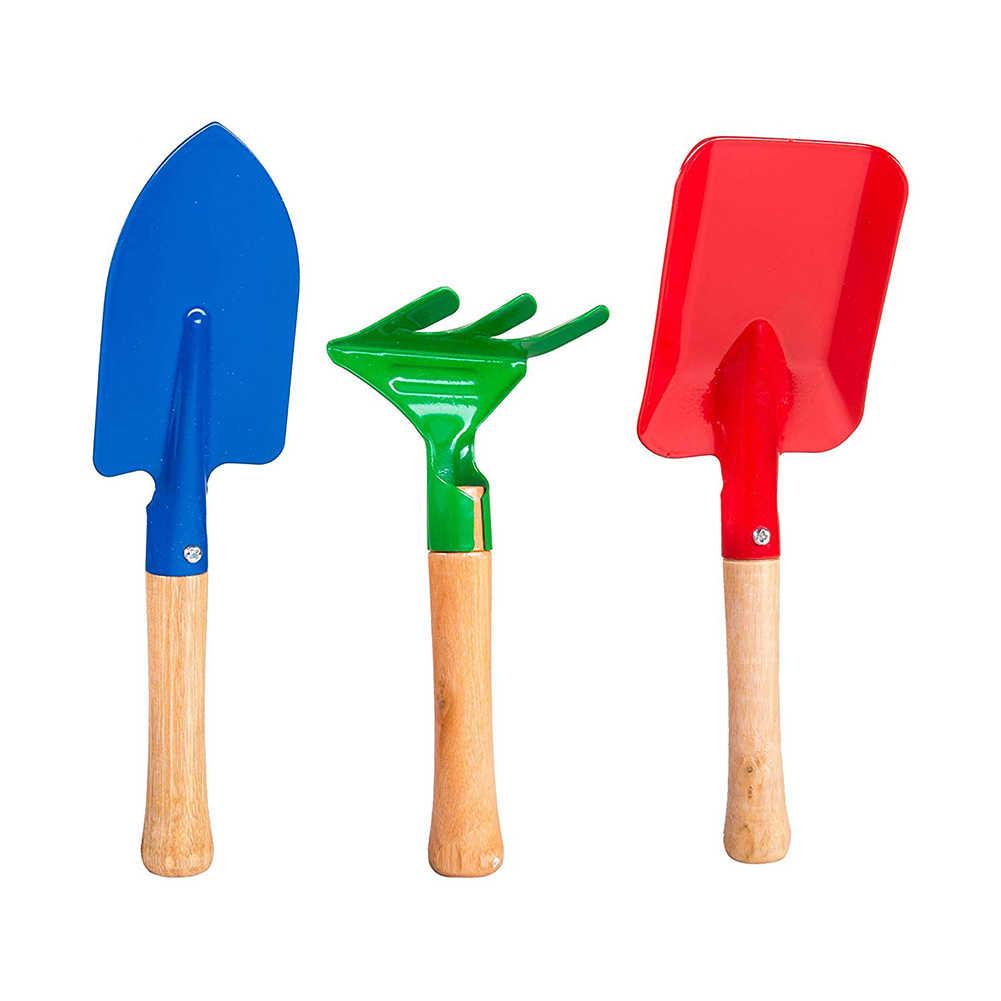 3 uds juguete para niños mango corto de madera arena playa pala arena rastrillo muñeca arena playa juguete muñeca casual moda herramienta de jardinería