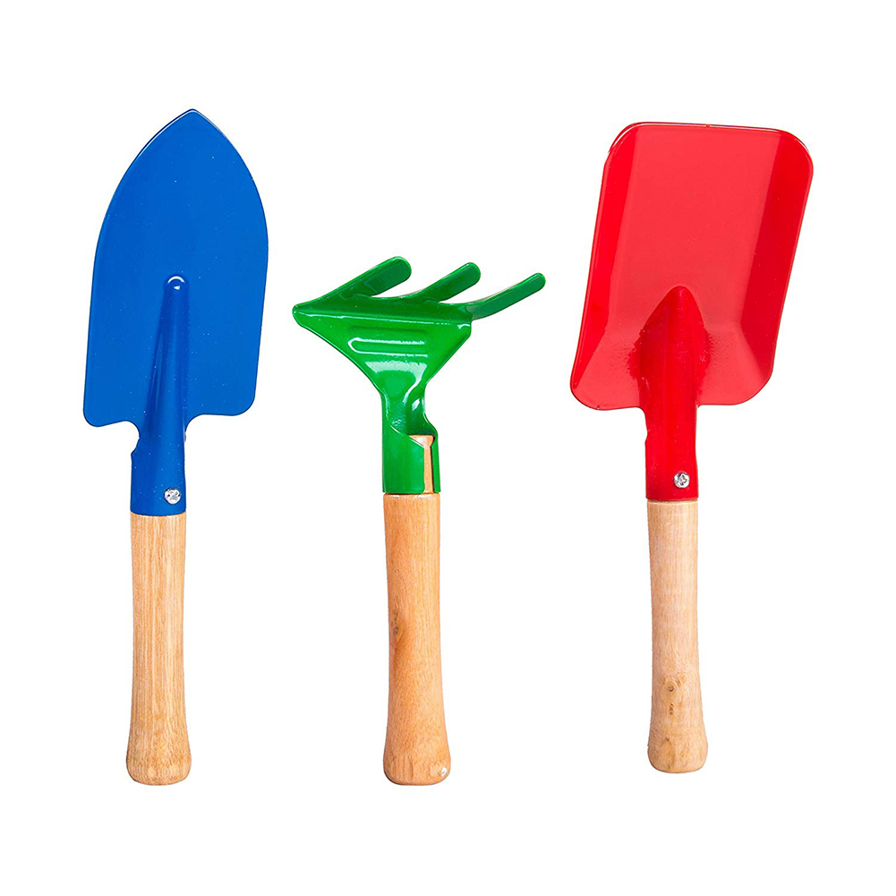 3pcs Kids Toy Short Wood Handle Sand Beach Shovel Sand Rake Doll Sand Beach Toy Doll Casual Fashion Gardening Tool