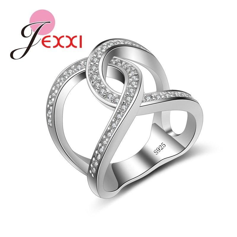 f25737738832 JEXXI diseño creativo moda Cruz forma anillos Rhinestone elegante joyería  mujeres boda 925 sello de plata esterlina anillos