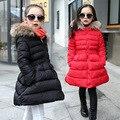 2016 девушки зимняя куртка тонкая талия долго дизайн толщиной хлопка мягкий пальто с Меховой корейской моды девушка зимняя одежда