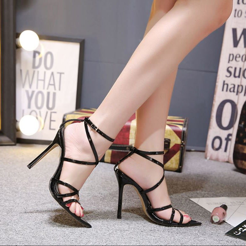 Women Bandage Cross Sandals  Ankle Strap High Thin Heels 11.5CM Lady Sexy Fashion Gladiator Sandals ShoesWomen Bandage Cross Sandals  Ankle Strap High Thin Heels 11.5CM Lady Sexy Fashion Gladiator Sandals Shoes