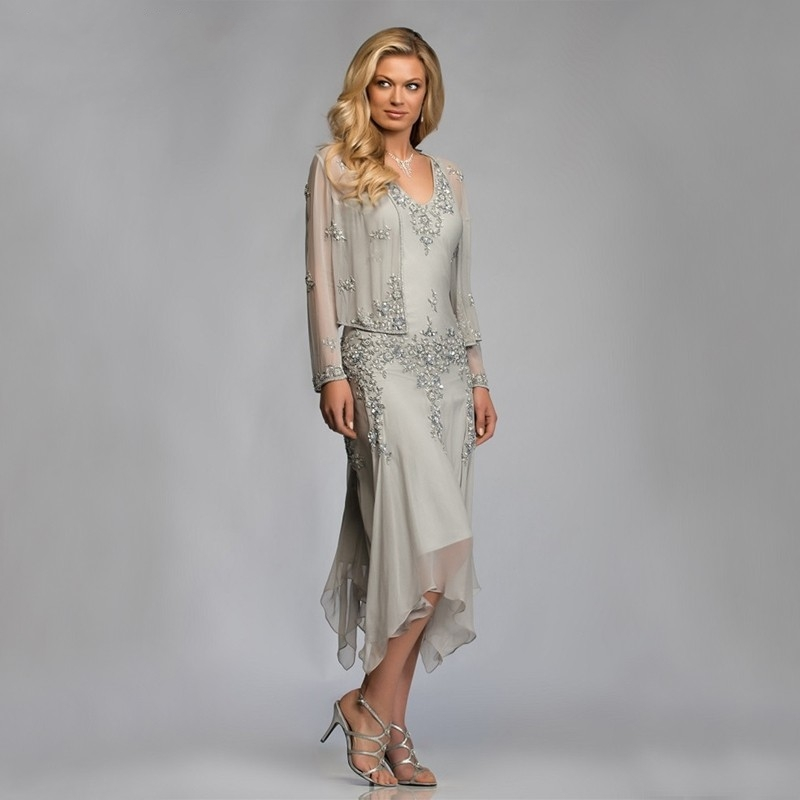 Gray Chiffon Mother Of The Bride Groom Dresses With Jacket 2020 For Summer Wedding Party Gowns Tea Length Godmother Plus Size
