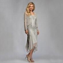 Vestidos gris de gasa para madre de la novia y novio con chaqueta 2020 para fiesta de boda de verano longitud de vestidos del té Madrina de talla grande