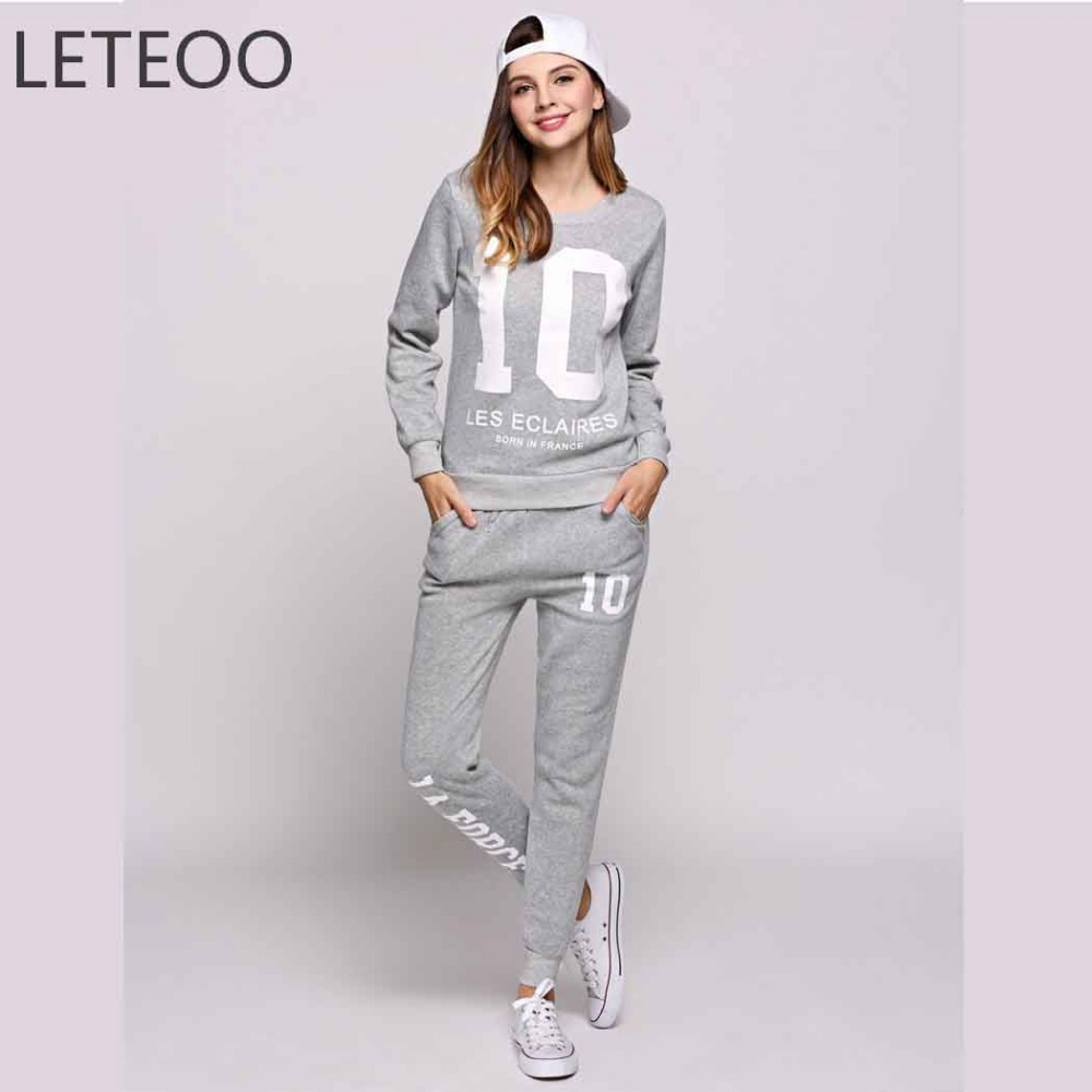 LETEOO Autumn Sweat Suits Women Black Sweatshirt And Long Pants Suit Casual Letter Print Long Sleeve Two Piece Set Outfits JDB30