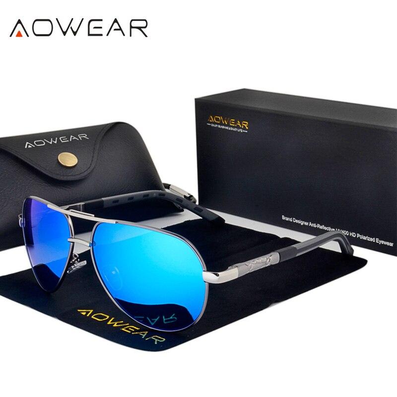 AOWEAR Marque Designer Miroir lunettes de Soleil Hommes Polarisées Aviation Lunettes de Soleil Mâle Aluminium Magnésium Lunettes Lunettes Lunettes