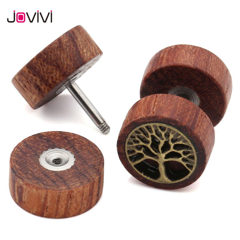 JOVIVI 16Ga Sono Wood Tree Of Life Fake Cheater Fake Ear Ear Body Joyería Fake Ear Ear Expander Túnel de carne Barbell Pendiente Tragus