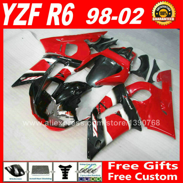 OEM red black Fairings set for YAMAHA R6 1998 - 2002  ABS parts kit  98 99 00 01 02 fairing kits YZF 600 1999 2000 2001