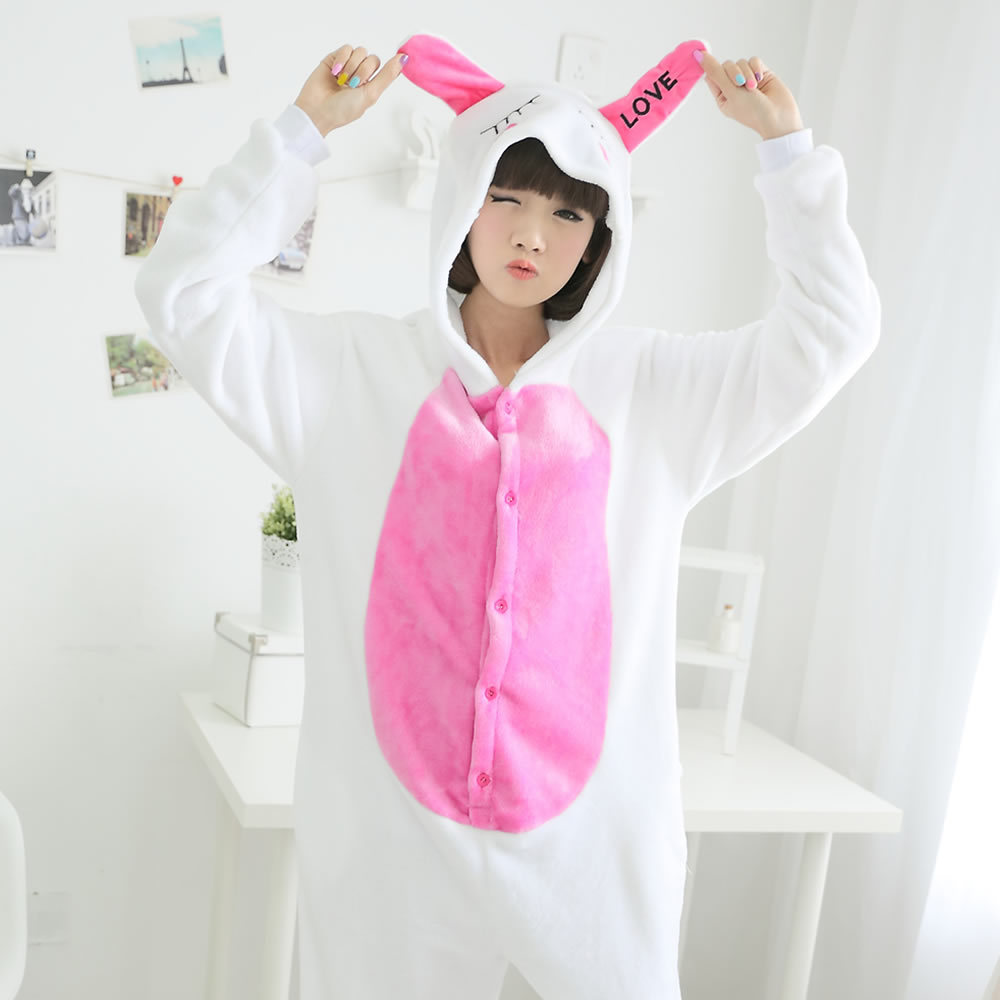 Nowy Dorosłych Różowy Loved Królik Piżamy Bielizna Nocna Snu i Salon Piżamy Unisex Cosplay Costume Domu Ubrania S M L XL